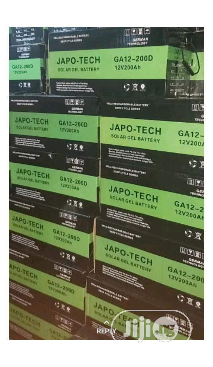 12v 200ah Japotech Solar Battery | Solar Energy for sale in Ojo, Lagos State, Nigeria