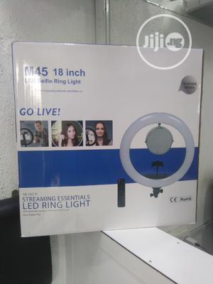 """LED Selfie Ring Light 18"""" With Mirror Battery Space & Stand 