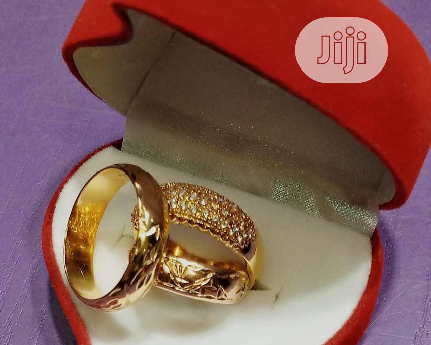 Original Bruna Gold 3 Set Patterned Wedding Rings | Wedding Wear & Accessories for sale in Ojodu, Lagos State, Nigeria
