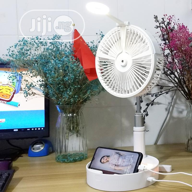 Portable Folding Retractable Mist Fan USB Charging Floor Fan | Home Appliances for sale in Ikotun/Igando, Lagos State, Nigeria