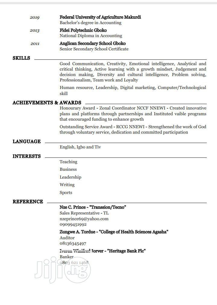 Accounting & Finance CV | Accounting & Finance CVs for sale in Kubwa, Abuja (FCT) State, Nigeria