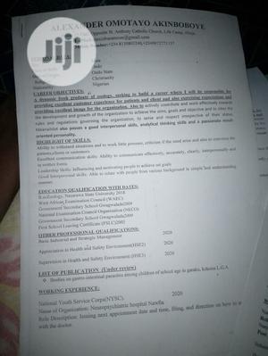 My Curriculum Vitae   Internship CVs for sale in Abuja (FCT) State, Gwarinpa