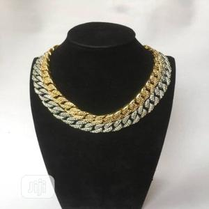 Unisex Iced Cuban Chain-Gold and Silver   Jewelry for sale in Lagos State, Ikeja