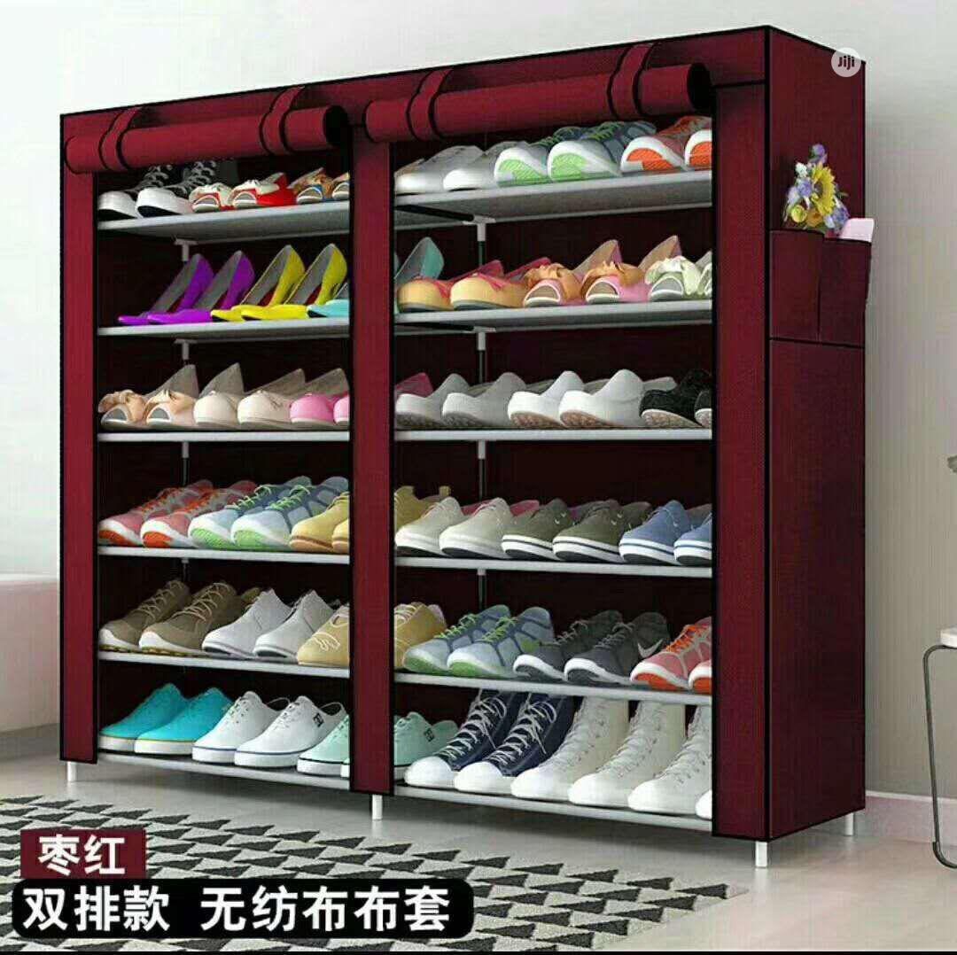 12 Layers Double Column Shoe Rack With Cover