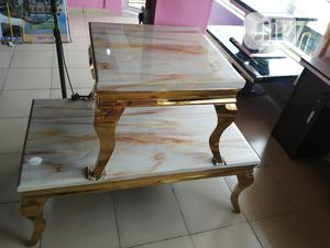 Quality Portable Gold Center Table With Two Side Stool | Furniture for sale in Lagos State, Lekki