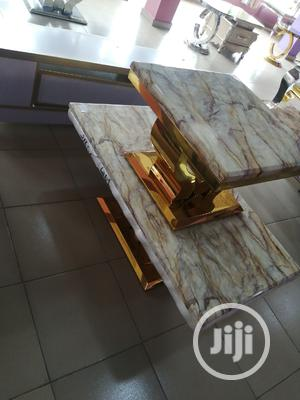 Quality Portable Marble Center Table With Two Side Stool | Furniture for sale in Lagos State, Ikeja