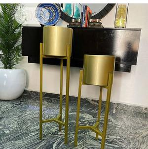 Gold Long Exotic Flower Pot With Palm Tree   Home Accessories for sale in Lagos State, Ikeja