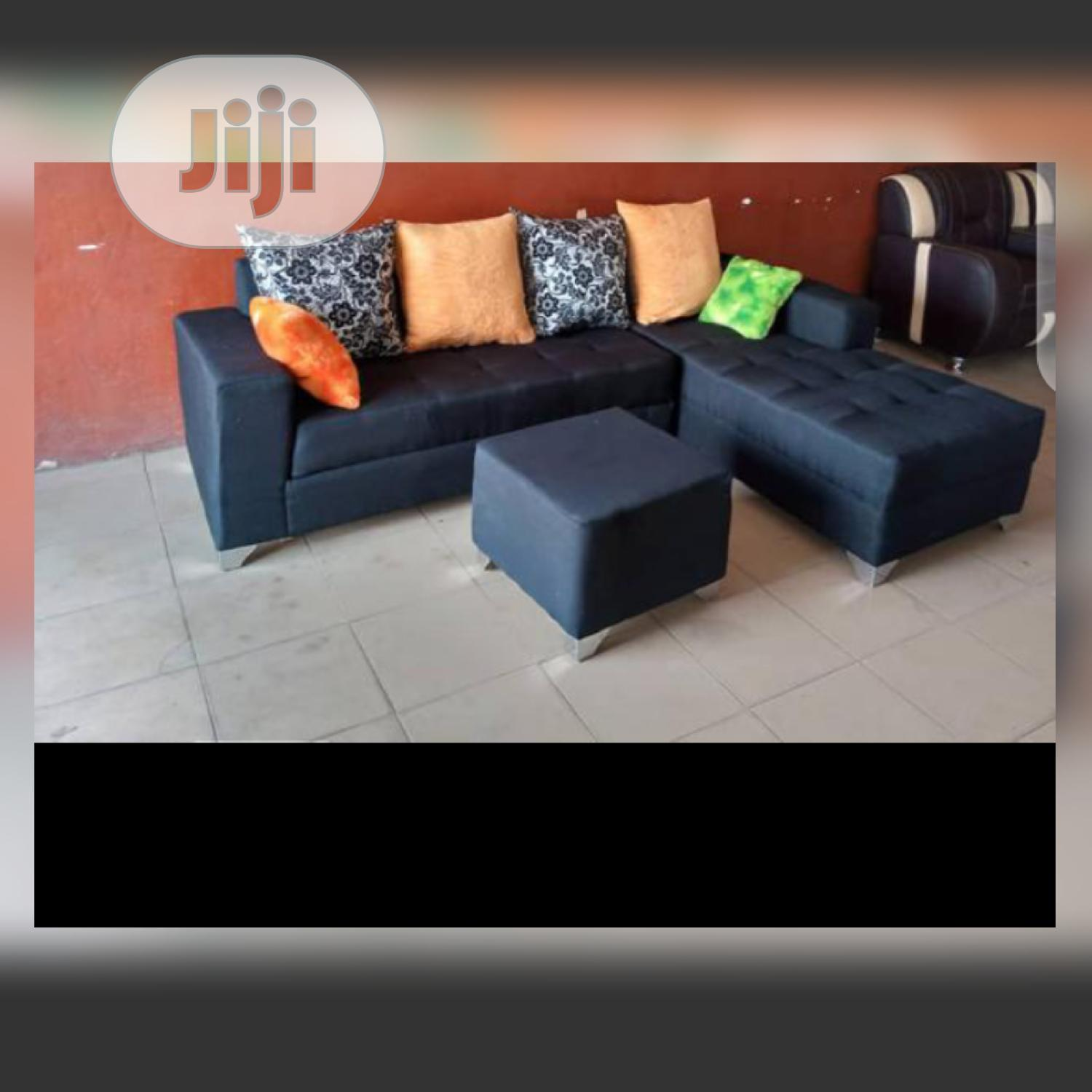 New Set of L-Shaped Fabric Sofa With an Ottoman