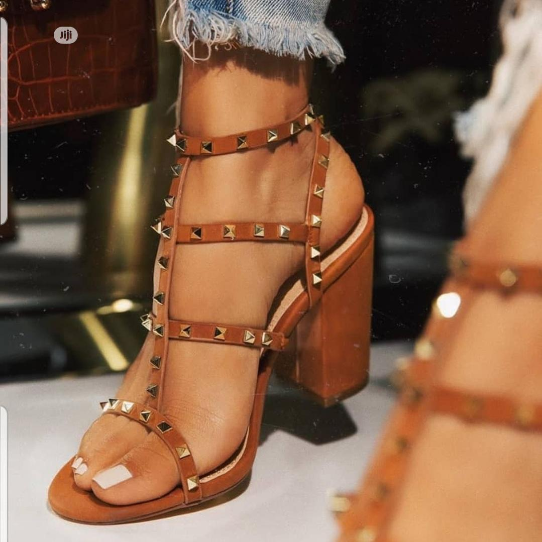 Ladies Studded Block Heel Sandals | Shoes for sale in Surulere, Lagos State, Nigeria