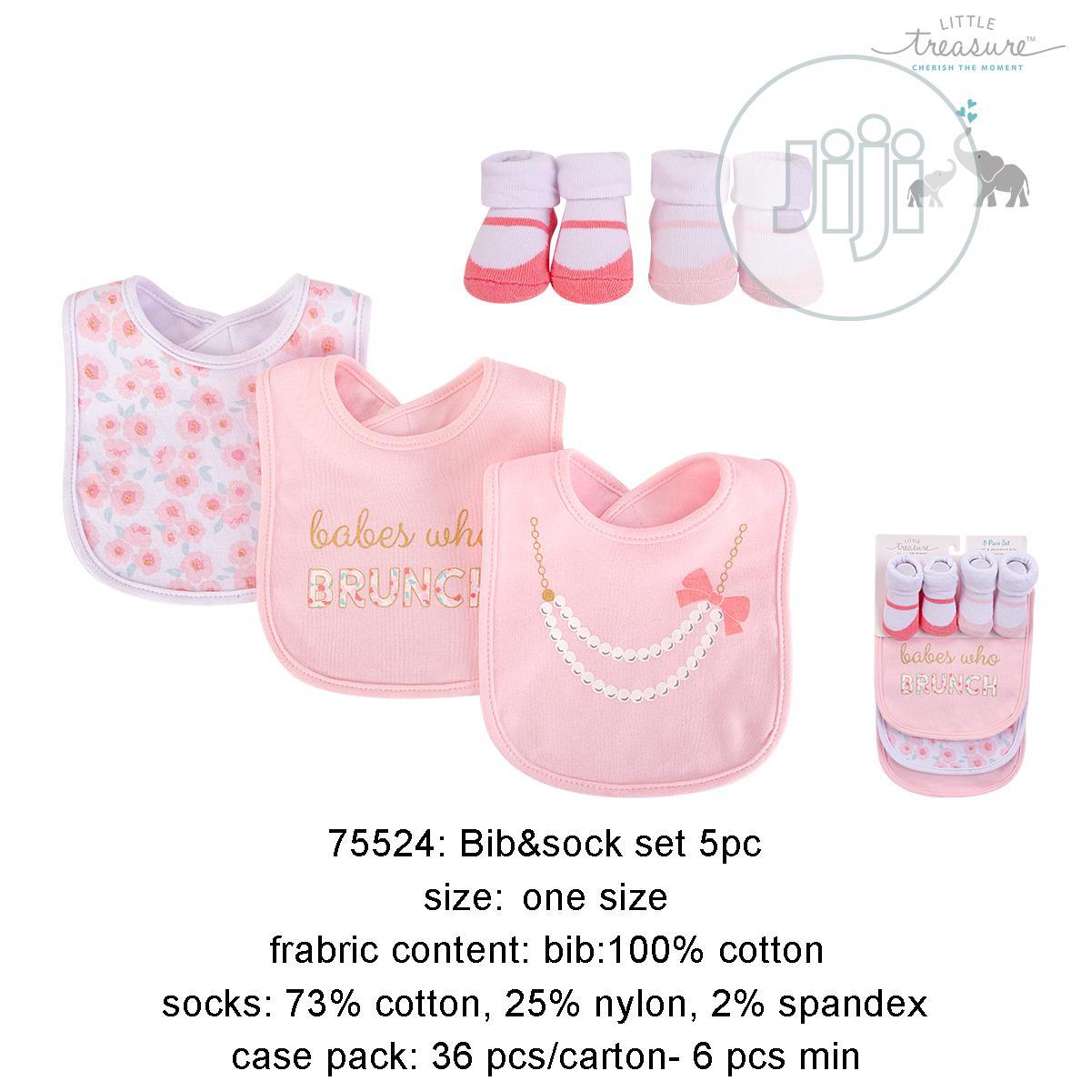 Little Treasure 5 Piece Baby Cotton Bib and Sock Set