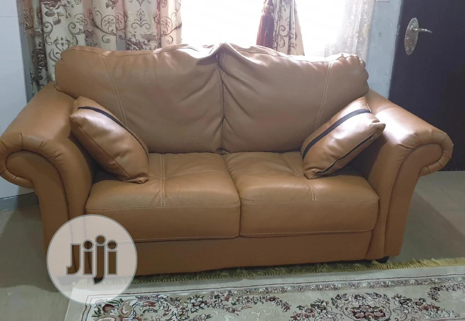 Lovely Fairly Used Alibert Leather Sofas | Furniture for sale in Wuye, Abuja (FCT) State, Nigeria