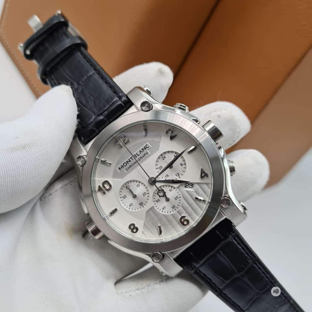 Montblanc Chronograph Silver Leather Strap Watch