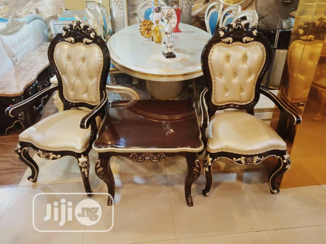 Royal Brown Leather Console 1 Polishe Wood Table and 2 Chair