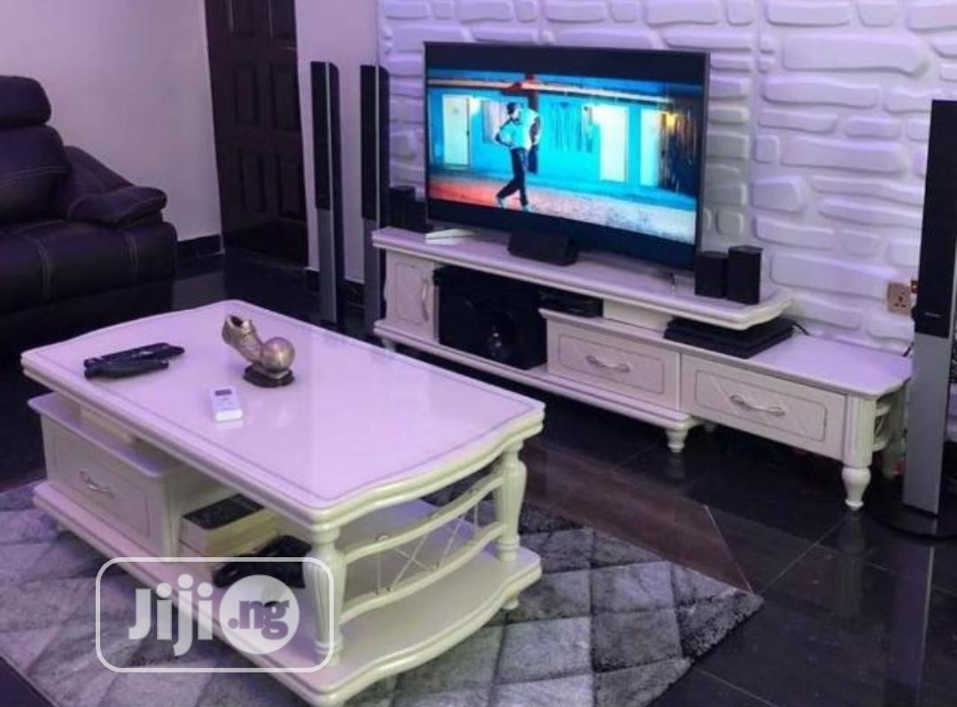 Wooden Center Table With Glass On Top And TV Stand