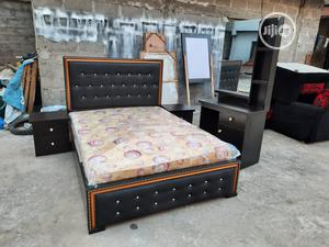 4.5 by 6ft Leather Bed Frame With Original Mattress   Furniture for sale in Lagos State, Ojo