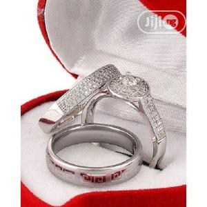 White Sapphire and Stone Silver Wedding Ring Set   Wedding Wear & Accessories for sale in Lagos State, Apapa