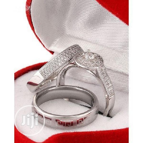 White Sapphire and Stone Silver Wedding Ring Set
