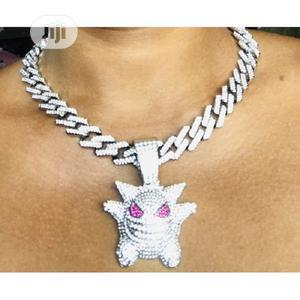 Iced Out Cuban Link Choker With Clown Pendant Silver   Jewelry for sale in Lagos State, Apapa