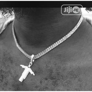 Tennis Chain With Iced Out Pendant Silver 0 Out of 5   Jewelry for sale in Lagos State, Apapa