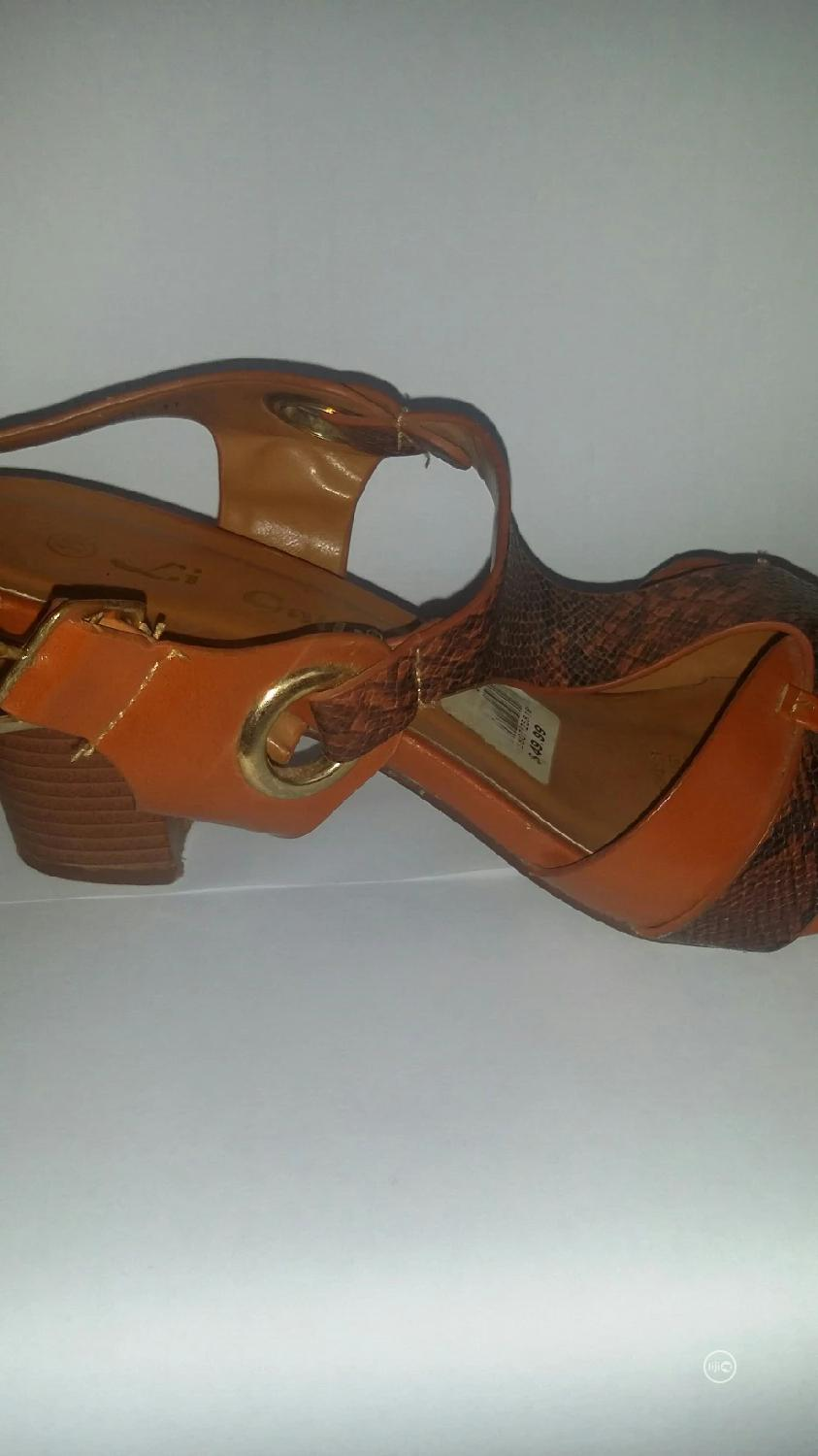 Brown Leather Block Heels Size 41   Shoes for sale in Benin City, Edo State, Nigeria