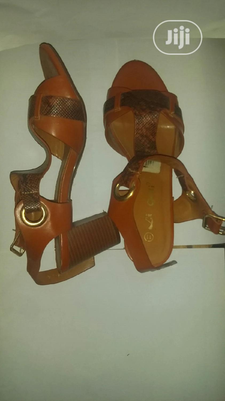 Brown Leather Block Heels Size 41