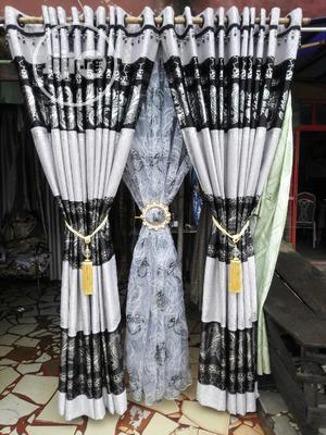 Quality Black and White Satin Curtain | Home Accessories for sale in Lagos State, Ojo