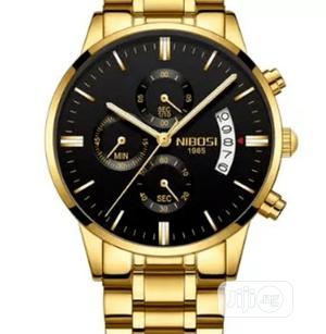 Quartz Men Wristwatch - Gold | Watches for sale in Anambra State, Nnewi