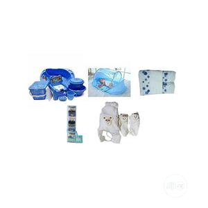 Happy Baby Baby Bath Set 7pcs - Blue + Pop Up Baby Bed Net | Baby & Child Care for sale in Lagos State, Agege