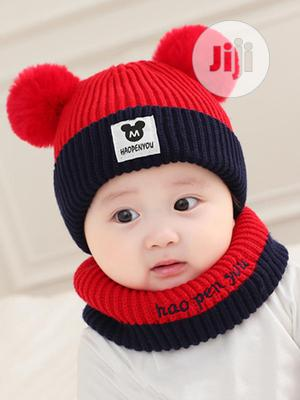 2pcs Cute Pom Pom Beanie Baby Cap Neck Warmer | Children's Clothing for sale in Lagos State, Alimosho