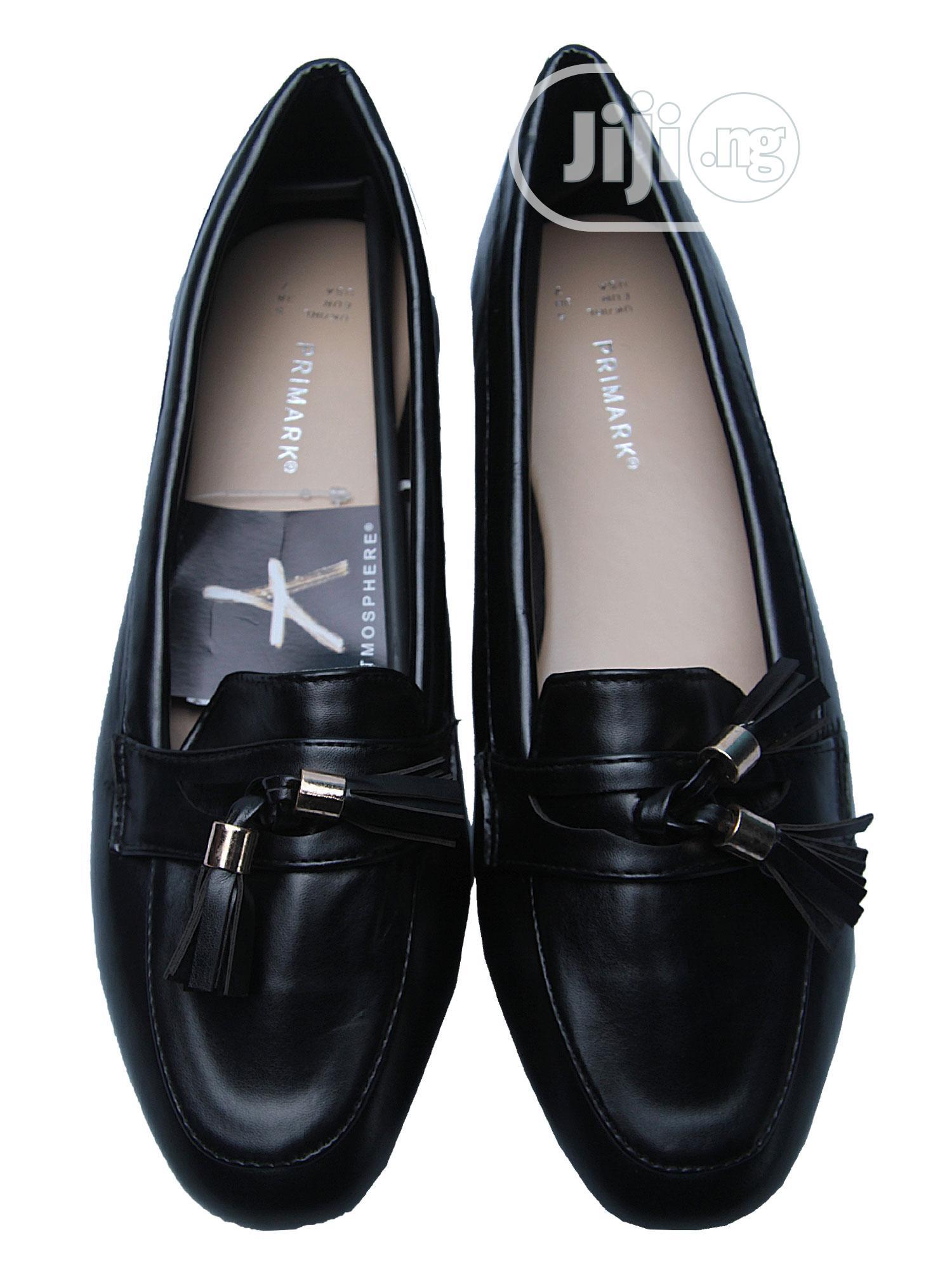Primark Ladies Flat Black Leather Shoes