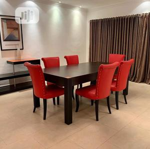 Six Red Dinning Chairs With Brown Wooden Table | Furniture for sale in Lagos State, Ikeja