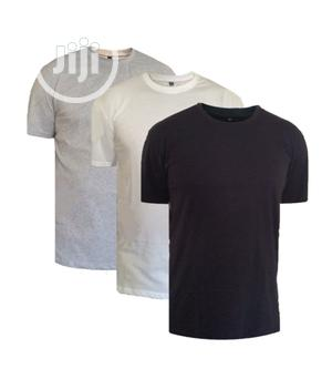 Pack of 3 Plain Round Neck Cotton T-Shirt - Black White Gray   Clothing for sale in Lagos State, Oshodi