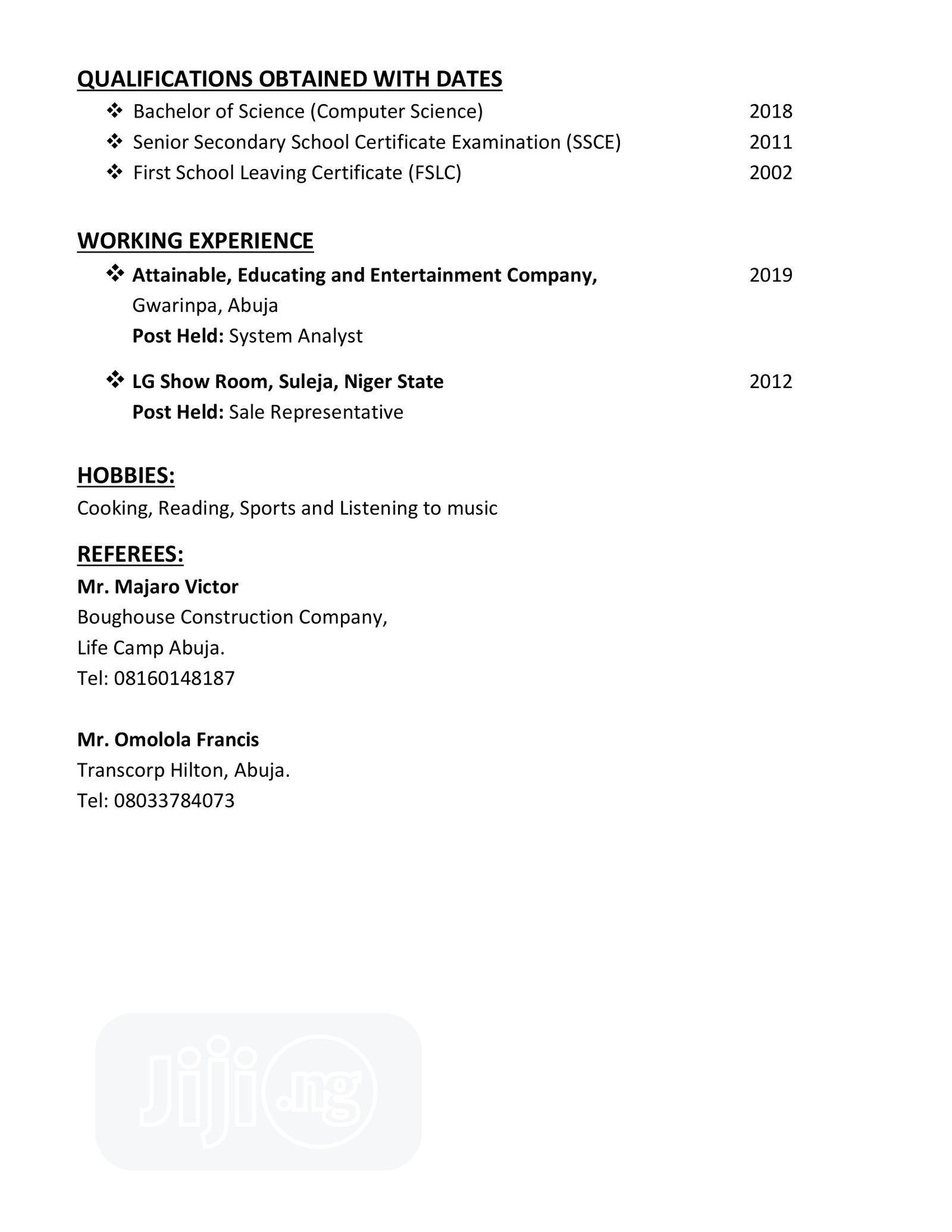 Accounting & Finance CV   Accounting & Finance CVs for sale in Lugbe District, Abuja (FCT) State, Nigeria