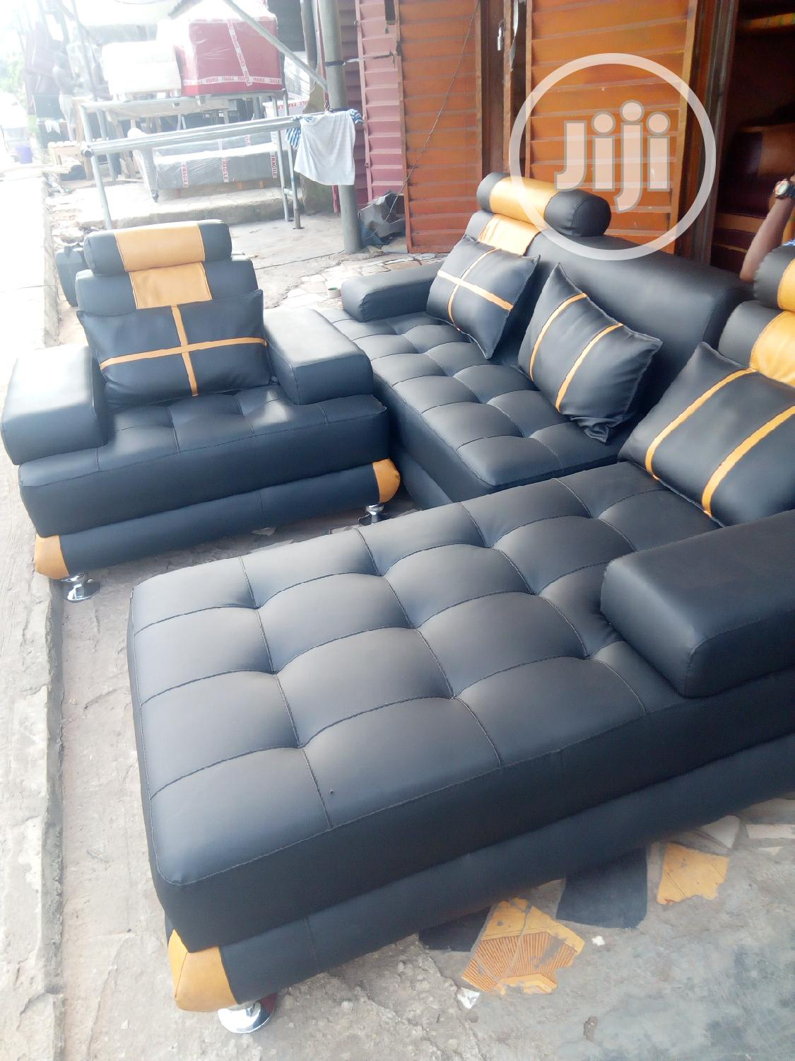 Picture of: Navy Blue And Gold L Shaped Sofa In Alimosho Furniture God 39 S Own Furniture Jiji Ng