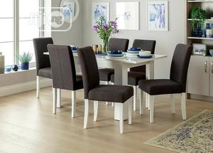 Ava White High Gloss Dining Table and Six Grey Chairs   Furniture for sale in Lagos State, Ikeja