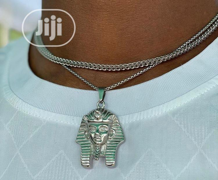 Top Quality Silver Cuban Chains With Pharoah Pendants