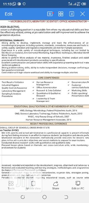Microbiologist and Data Collation Officer   Quality Control & Assurance CVs for sale in Abuja (FCT) State, Gudu