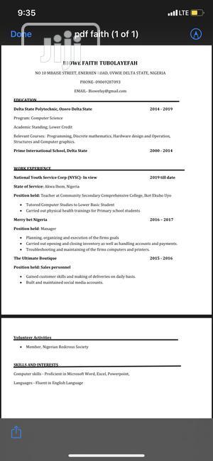 Clerical & Administrative CV | Customer Service CVs for sale in Akwa Ibom State, Uyo