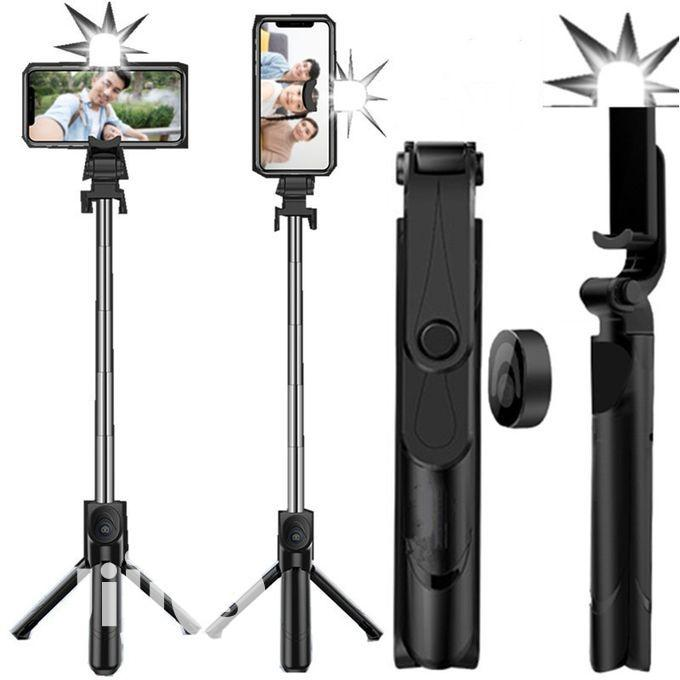 Selfie Stick With Tripod Stand Remote And Flashlight
