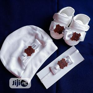 Baby Shoe, Bow & Cap Set   Children's Clothing for sale in Lagos State, Ikeja