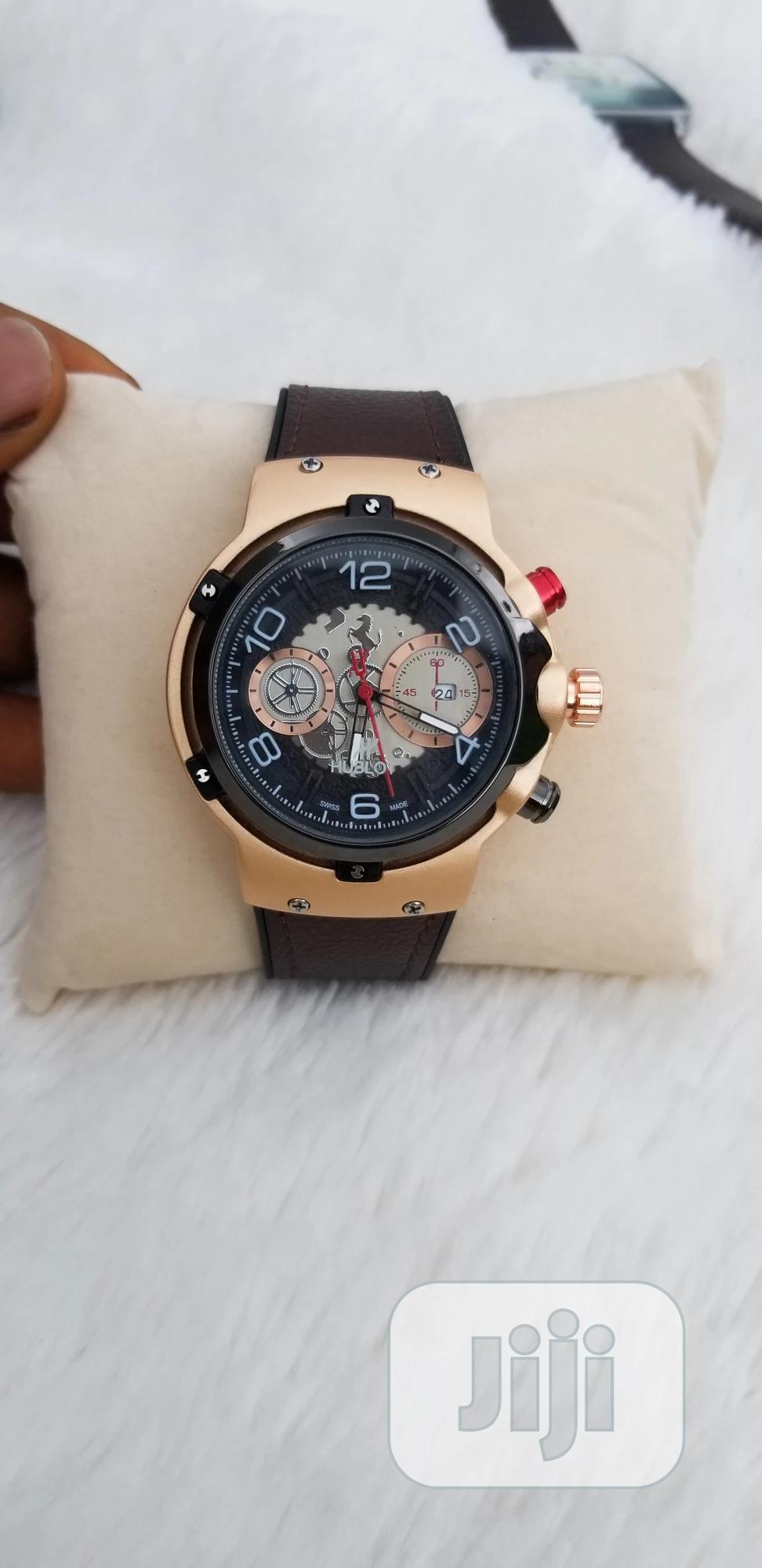 Brown Leather Rubber Strap Hublot Wristwatch