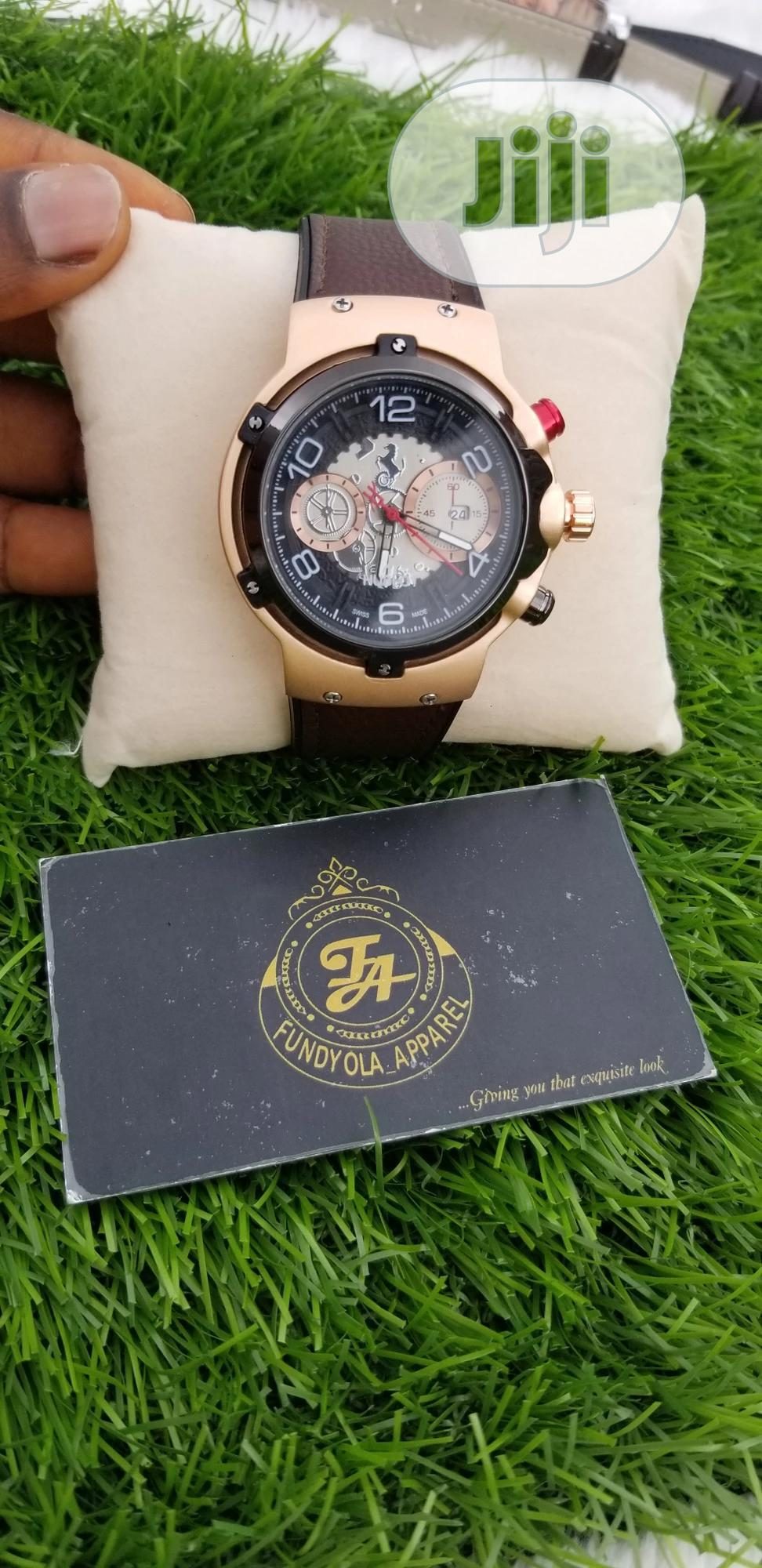 Brown Leather Rubber Strap Hublot Wristwatch | Watches for sale in Ajah, Lagos State, Nigeria