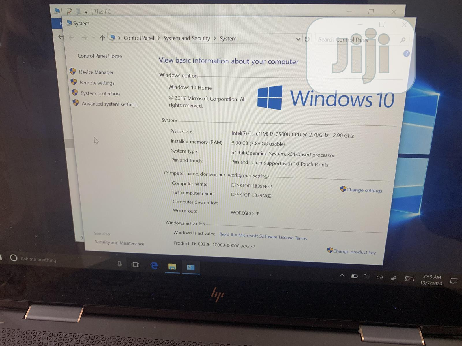 Laptop HP Spectre 13 8GB Intel Core I7 SSD 256GB   Laptops & Computers for sale in Wuse 2, Abuja (FCT) State, Nigeria