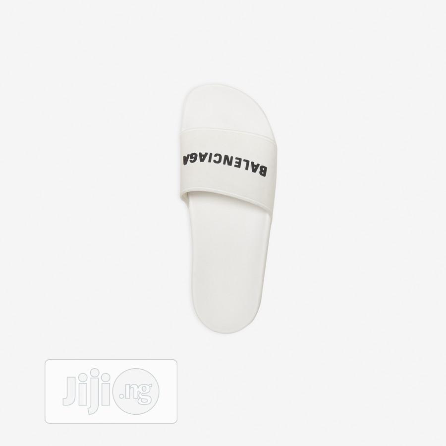 Logo-embossed Rubber Slides (White) - Balenciaga J11 | Shoes for sale in Alimosho, Lagos State, Nigeria