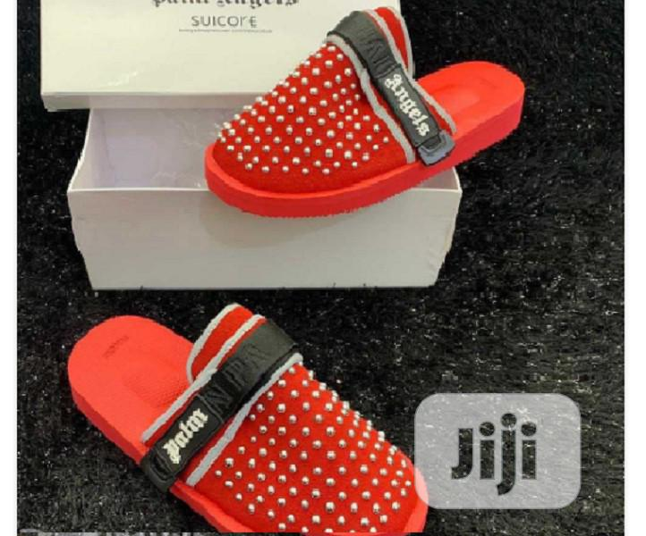 Palm Angels Padded Panelled Slides - Red J11
