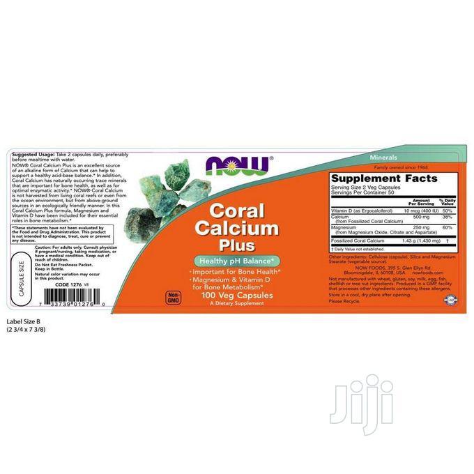 Now Foods Coral Calcium Plus Bone Health PH Balance 100 Caps   Vitamins & Supplements for sale in Amuwo-Odofin, Lagos State, Nigeria