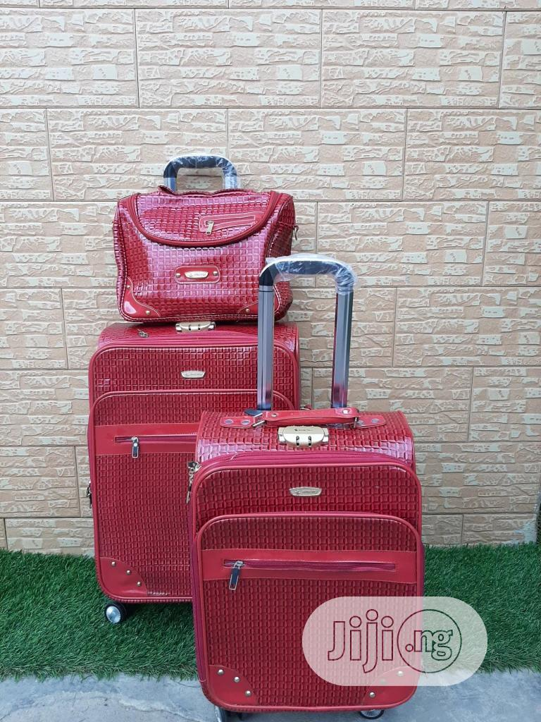 Genuine Leather Trolley Travel Bags ( 3 Sets)