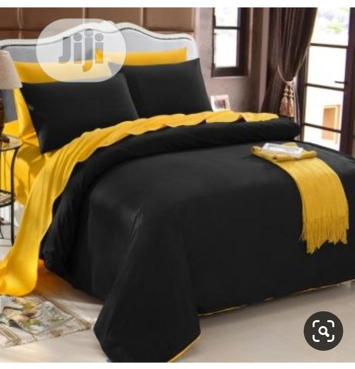 Yellow and Black Duvet,Bedsheet With 4 Pillowcases