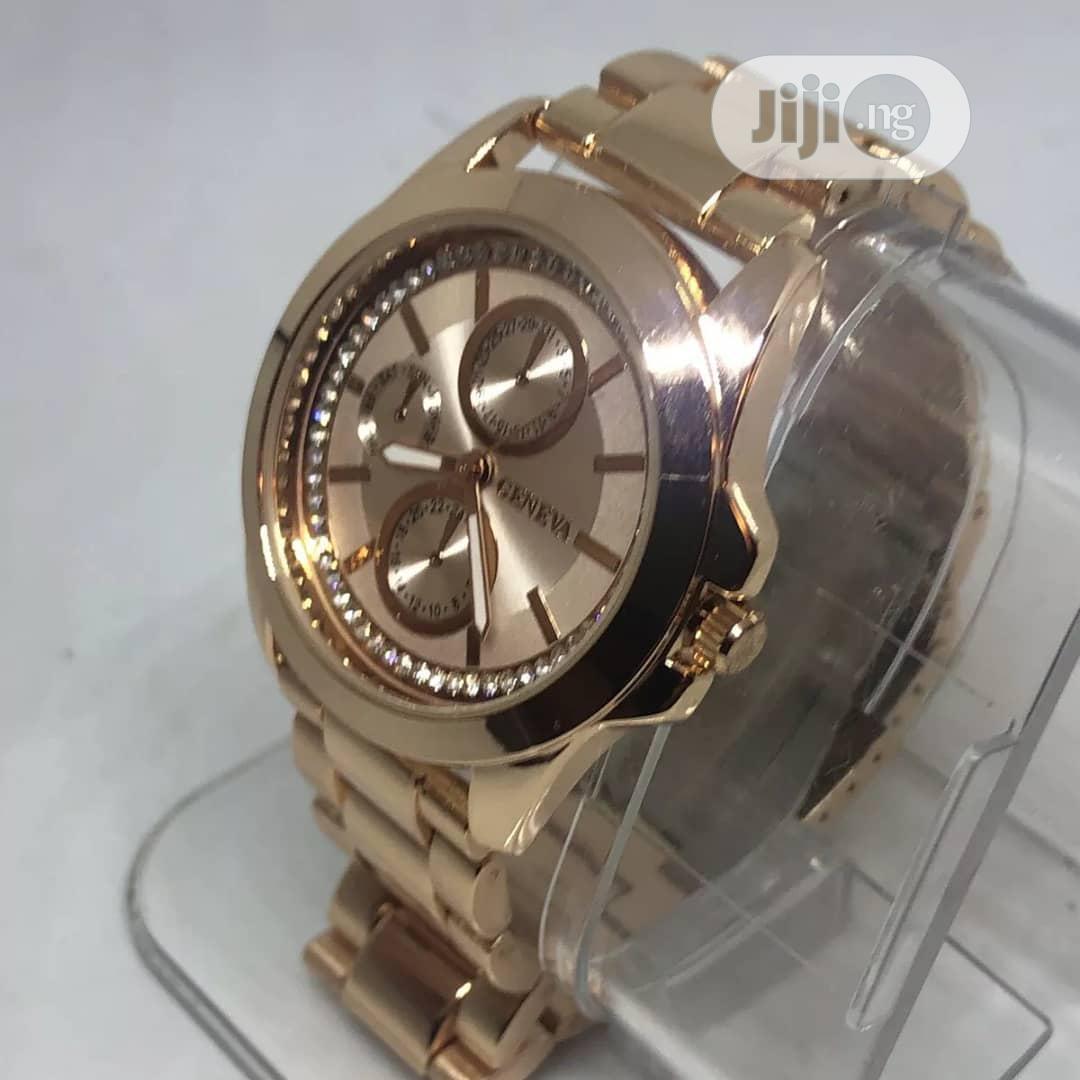 Geneva's Women Rose Gold Analogue Wristwatch