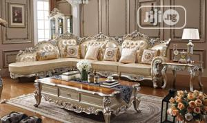 Royal Sofa Fabric And Leather Chair With Table And 2 Stools | Furniture for sale in Lagos State, Ojo